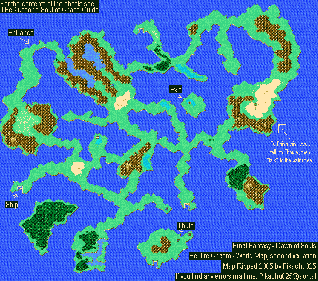Final Fantasy X World Map.Final Fantasy I Ii Dawn Of Souls Hellfire Chasm World Map Var 2