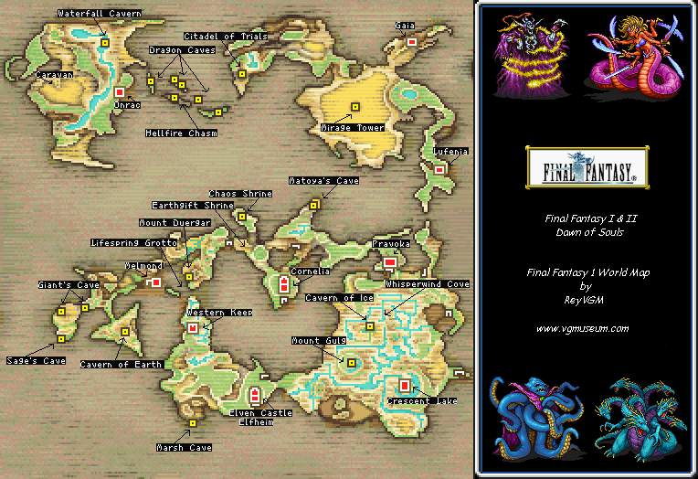 Ff1 Cavern Of Earth Map.Final Fantasy I Ii Dawn Of Souls World Map Png Reynaldo