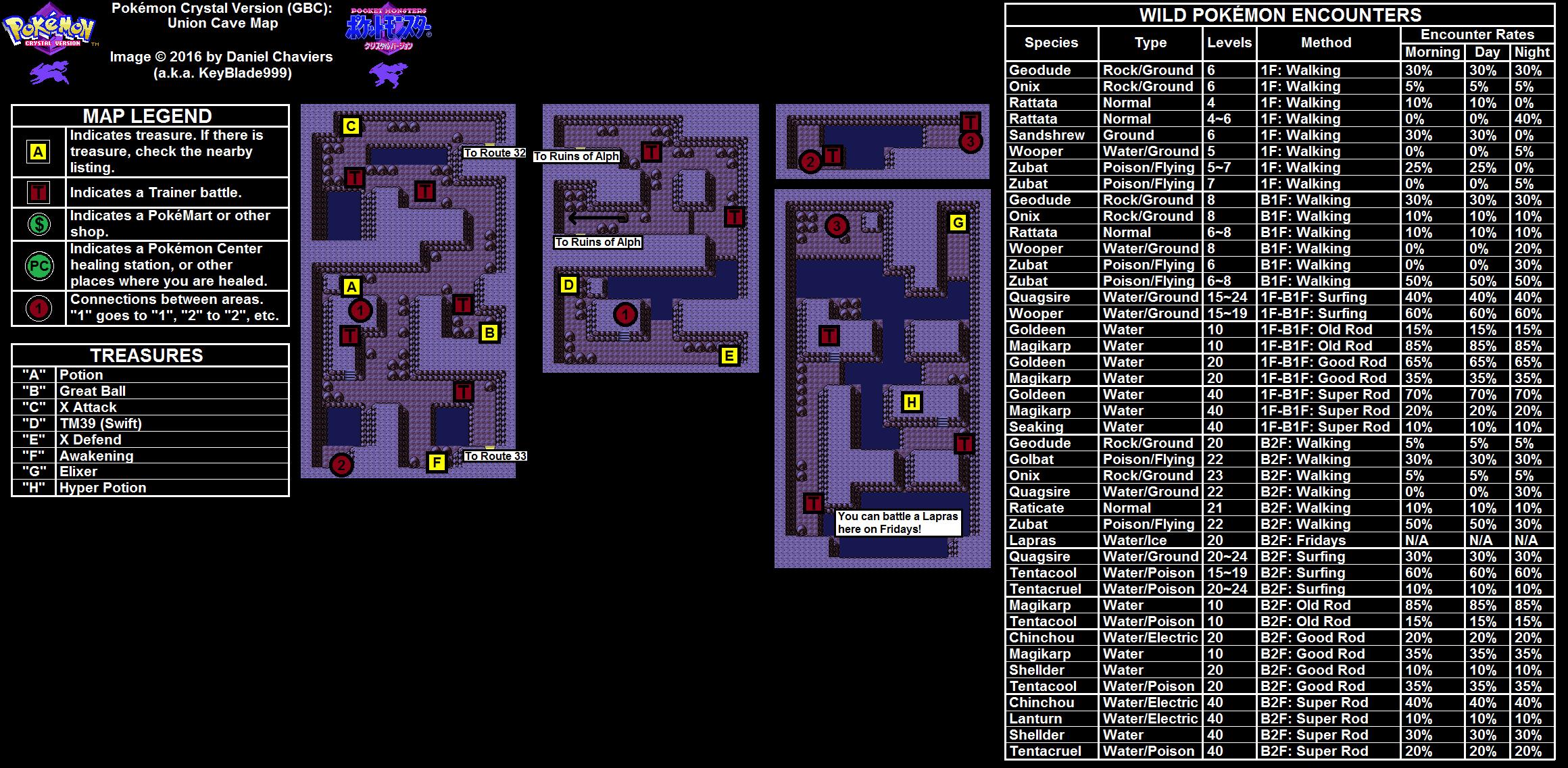 Pokémon Crystal Union Cave Map (PNG)   Neoseeker Walkthroughs