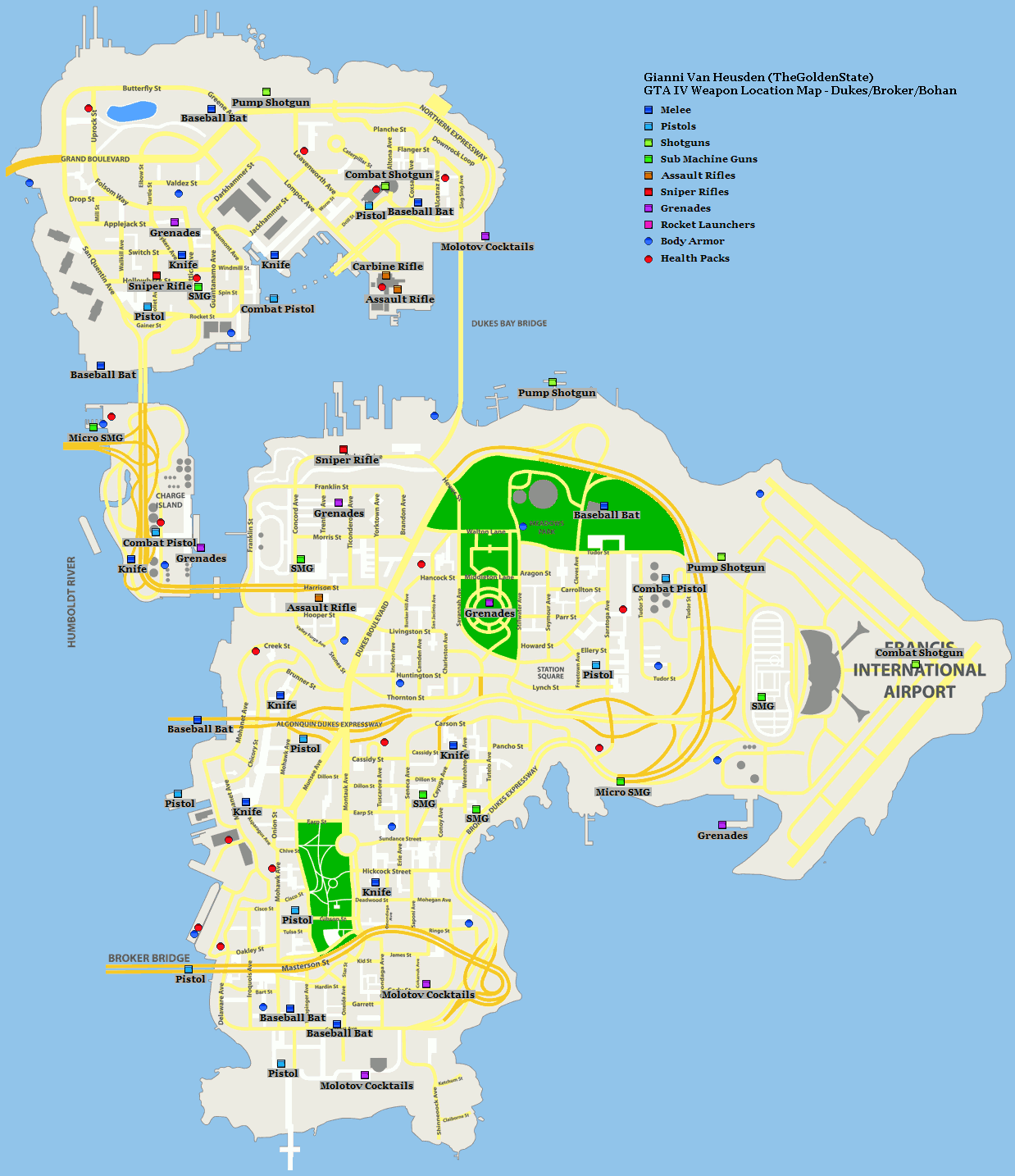 Grand theft auto iv weapon location map dukes broker bohan png