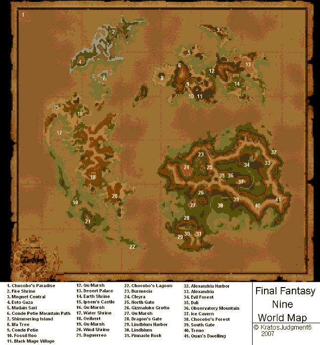 Final Fantasy IX World Map (PNG) v0.95 - Neoseeker Walkthroughs