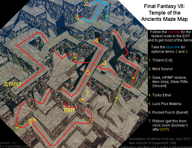 Final Fantasy VII Temple of the Ancients Maze Map (PNG) v1.0 ...